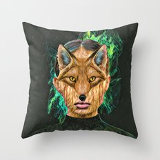 Green Fox Throw Pillow