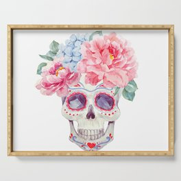 Watercolor mexican holidays of the dead Serving Tray
