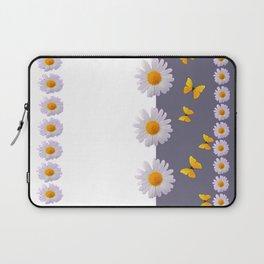 WHITE DAISIES & SPRING BUTTERFLIES & WHITE-GREY ART Laptop Sleeve
