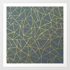 Ab Lines Gold and Navy Art Print