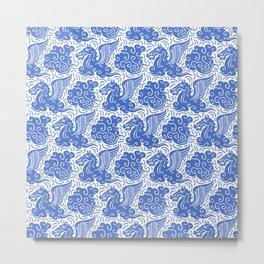 Pegasus Pattern Blue Metal Print