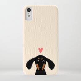 Dachshund Love | Cute Longhaired Black and Tan Wiener Dog iPhone Case