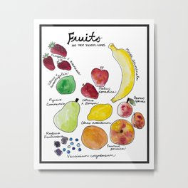 Fruits and Their Scientific Names Metal Print