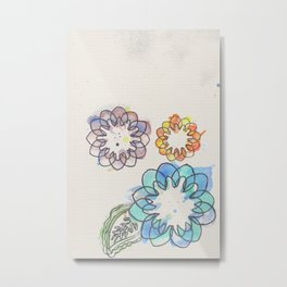 Water-colour Flowers Metal Print