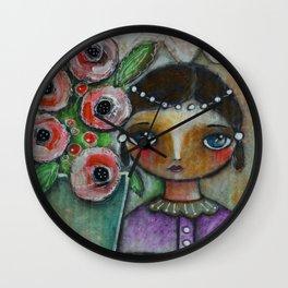 Eastern peony girl Wall Clock
