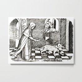 Nun tempting a cat with a fish Metal Print