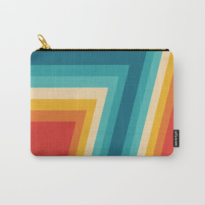 Colorful Retro Stripes  - 70s, 80s Abstract Design Carry-All Pouch