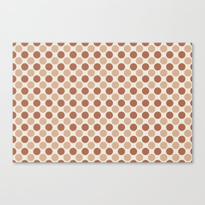 Cavern Clay SW 7701 and Ligonier Tan SW 7717 Uniform Large Polka Dot Pattern 1 on Creamy Off White Canvas Print