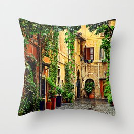 Vintage street in Rome, after Rain Throw Pillow