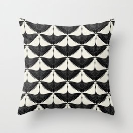 CRANE DESIGN - pattern - Black and White Throw Pillow