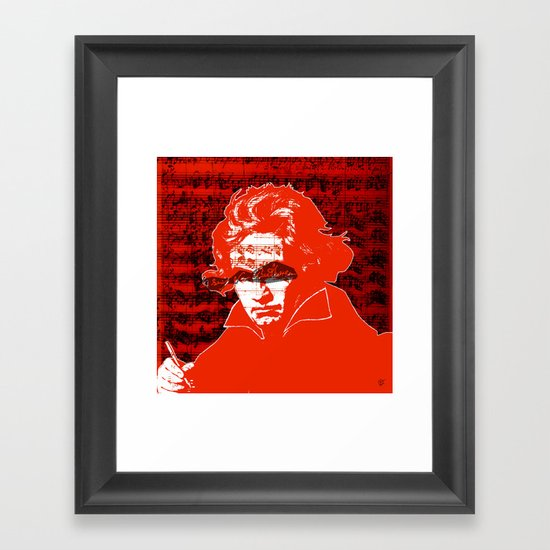 Ludwig van Beethoven · red10 Framed Art Print