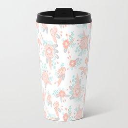 Floral bouquet pastel mint pink florals painted painted pattern basic minimal pattern print Travel Mug
