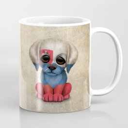 Cute Puppy Dog with flag of Slovakia Coffee Mug