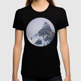 Mid Century Modern Round Circle Photo Winter Pine Trees Ski Mountain Peak T-shirt