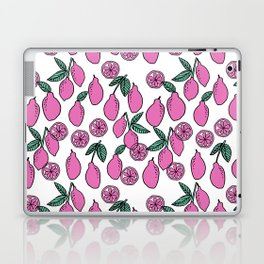 Lemons minimal pastel pink pattern print by andrea lauren cute home decor fruit patterns Laptop & iPad Skin