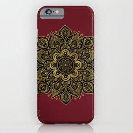 Golden Flower Mandala on Red iPhone Case