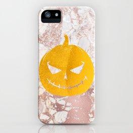 Golden Halloween Pumpkin Face on Rosegold iPhone Case