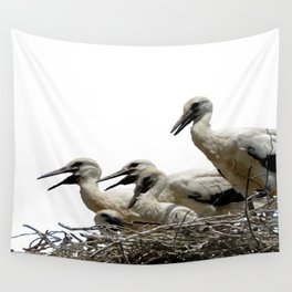 Storks and Fledglings Vector Wall Tapestry