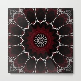 Deep Ruby Red Mandala Design Metal Print
