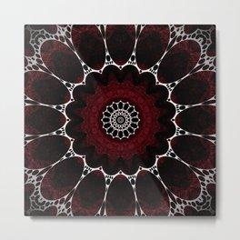 Deep Ruby Red Mandala Design Metal Print