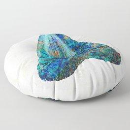 Blue Shark Tooth Art by Sharon Cummings Floor Pillow