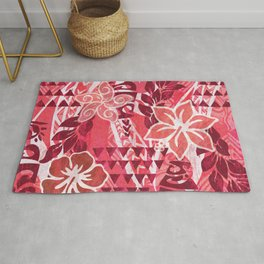 Red Hibiscus Polynesian Tapa Rug