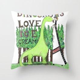 Dinosaurs Love Ice Cream Throw Pillow