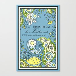 Hand Drawn Paisley Floral, Flower n Leaf Scroll Inspirational Text Canvas Print