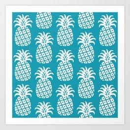 Retro Mid Century Modern Pineapple Pattern Turquoise 2 Art Print