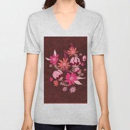 Cranberry Harvest Blooms Unisex V-Neck