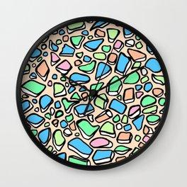 Sea Glass - Blues Aqua Green on Peach Wall Clock