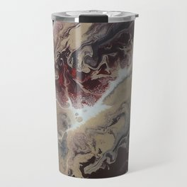 Neutral Black, Red and Brown Painting - Schism Abstract Travel Mug