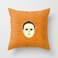 michael myers Throw Pillows featuring Michael Myers by Kuki