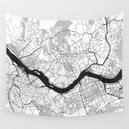 Seoul Map Gray Wall Tapestry