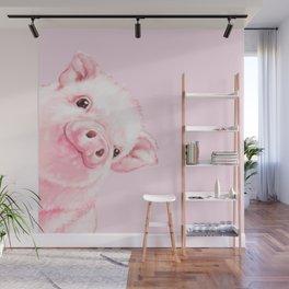 Sneaky Baby Pink Pig Wall Mural