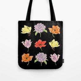 9 flowers (dark) Tote Bag