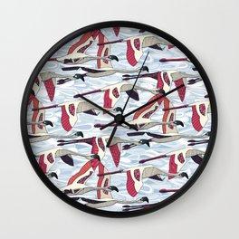 paisley cloud flamingo flock Wall Clock