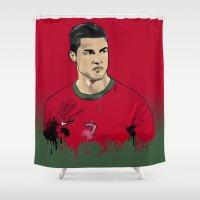 ronaldo Shower Curtains featuring Cristiano Ronaldo by J Maldonado