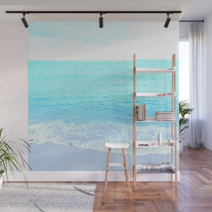 Emerald Blue wave Summer Sea Beach Wall Mural by lifeisbeautiful
