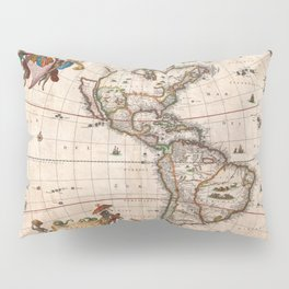 1658 Visscher Map of North & South America with enhancements Pillow Sham