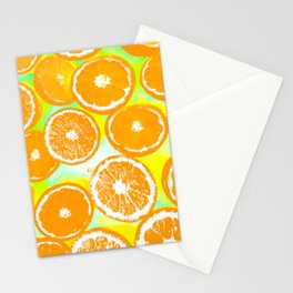 juicy orange pattern abstract with yellow and green background Stationery Cards