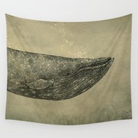 damask Wall Tapestries featuring Damask Whale  by Terry Fan