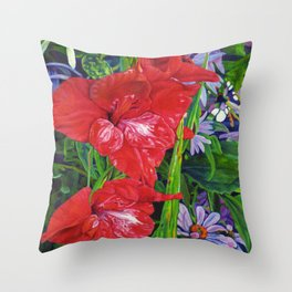 Gladiola's and Echinacea Throw Pillow