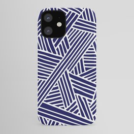 Abstract navy blue & white Lines and Triangles Pattern - Mix and Match with Simplicity of Life iPhone Case