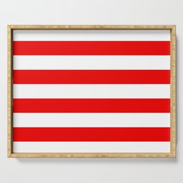 Stripe Red White Serving Tray