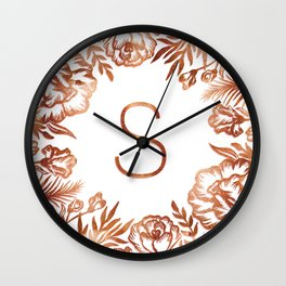 Letter S - Faux Rose Gold Glitter Flowers Wall Clock