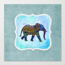 Boho Elephant Blue Canvas Print