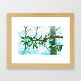Winter Chickadees Framed Art Print