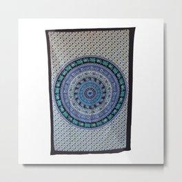 Twin Elephant Mandala Tapestry Bedspread Metal Print