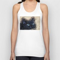 black cat Tank Tops featuring Black cat by jbjart